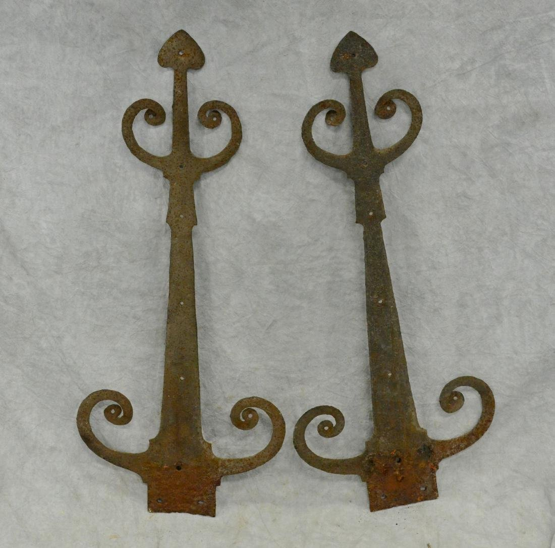 """(5) Hand wrought ram's horn strap hinges; 31"""" long - 3"""