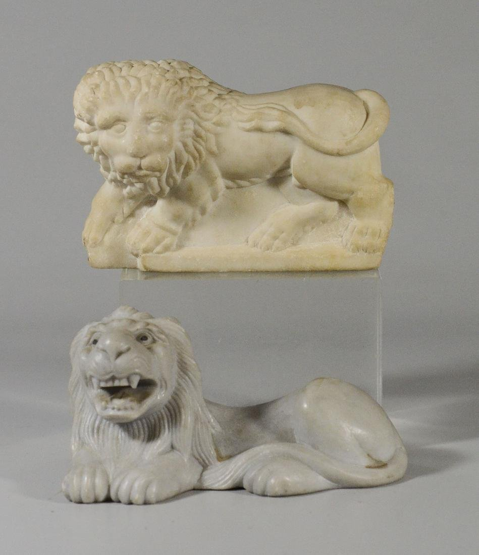 "2 carved white marble lion doorstops, 7"" l, 5"" h"