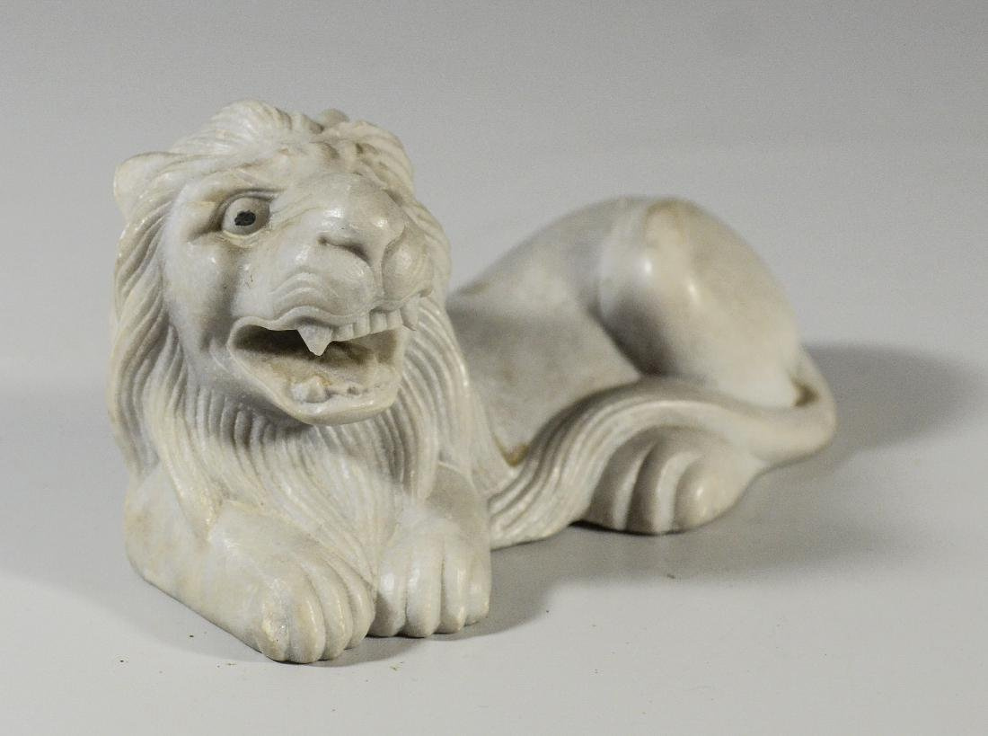"2 carved white marble lion doorstops, 7"" l, 5"" h - 2"