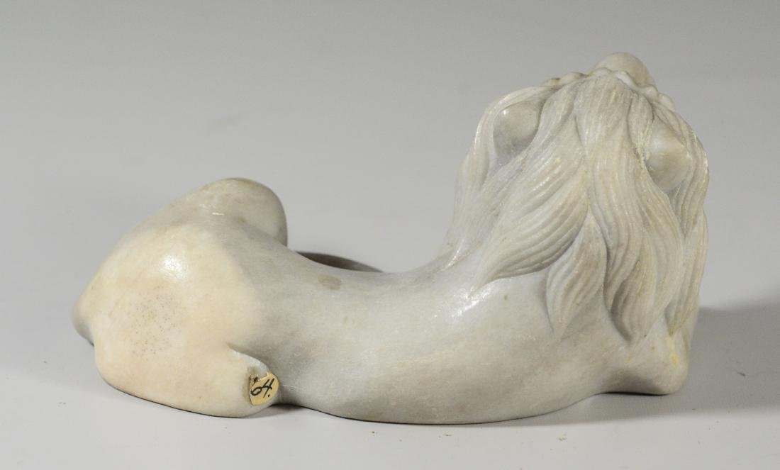 """2 carved white marble lion doorstops, 7"""" l, 5"""" h - 3"""