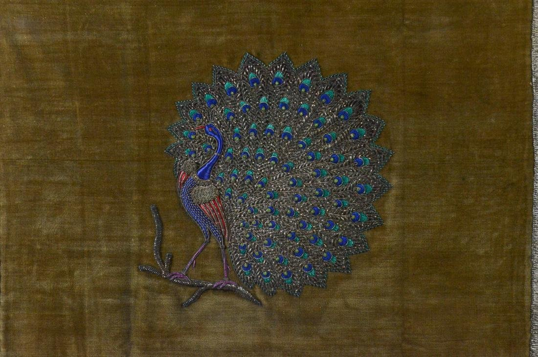 Embroidered silk panel depicting a peacock - 2