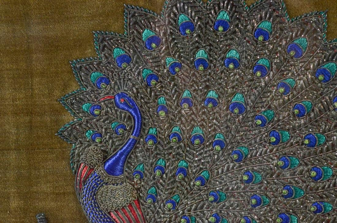 Embroidered silk panel depicting a peacock - 3