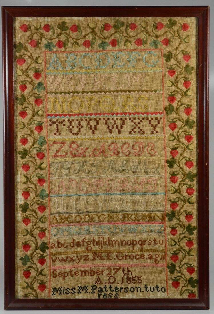 1855 needlework sampler, ME Groce