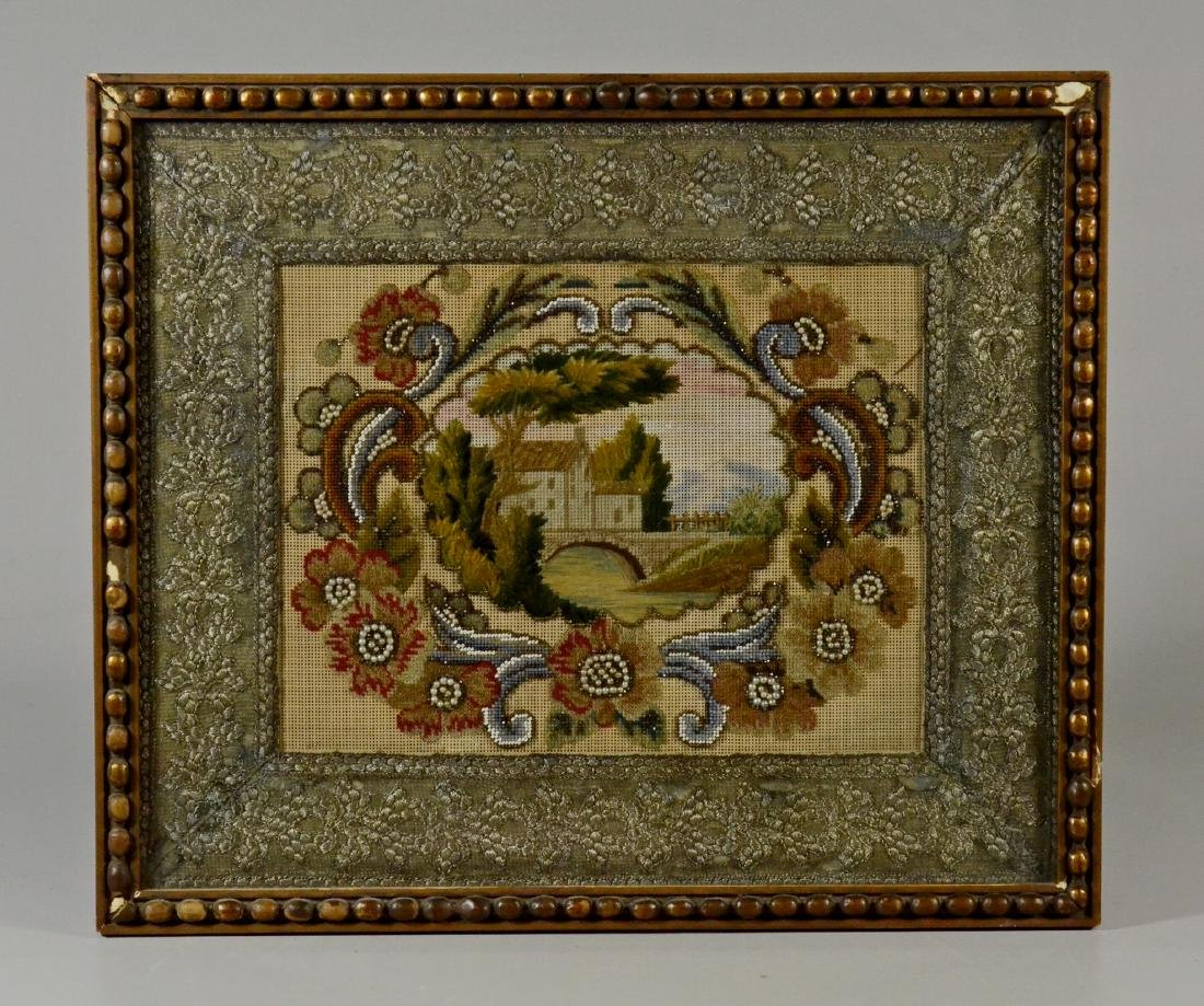 19th Century Needlepoint and Beadwork Panel