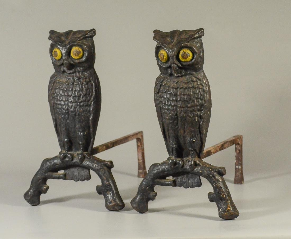 Pair of Cast Iron Owl Andirons yellow painted eyes