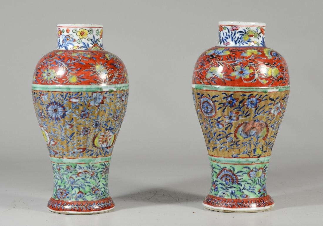 Pr of Chinese Ribbed Baluster Clobbered Vases