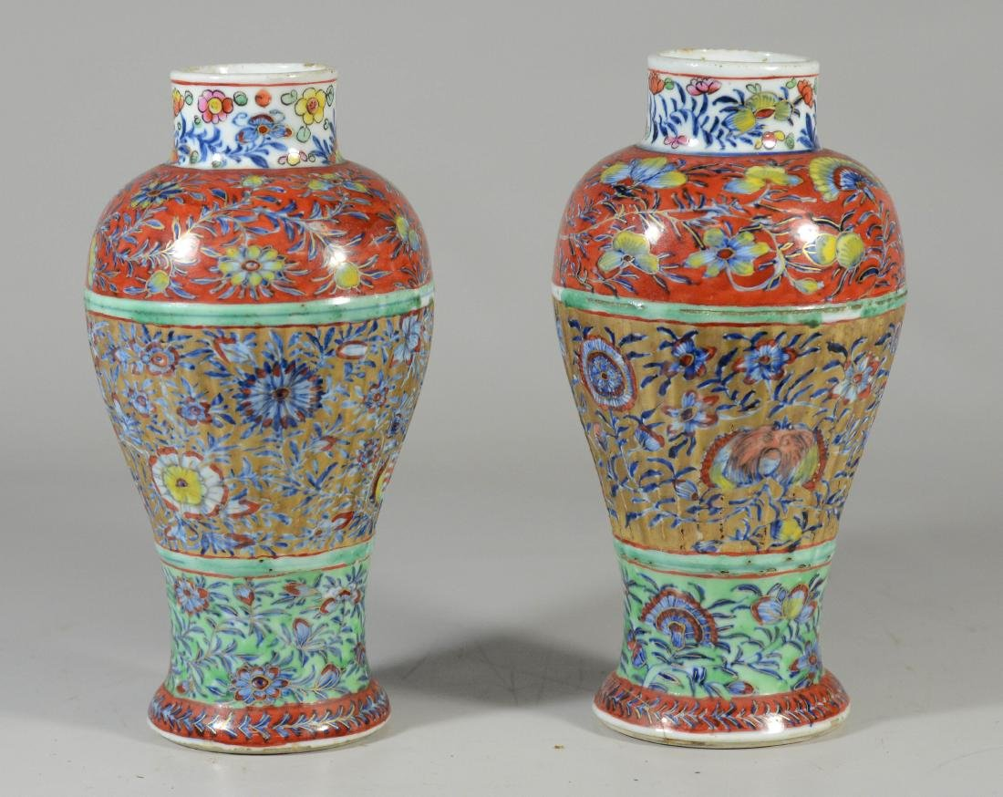 Pr of Chinese Ribbed Baluster Clobbered Vases - 2