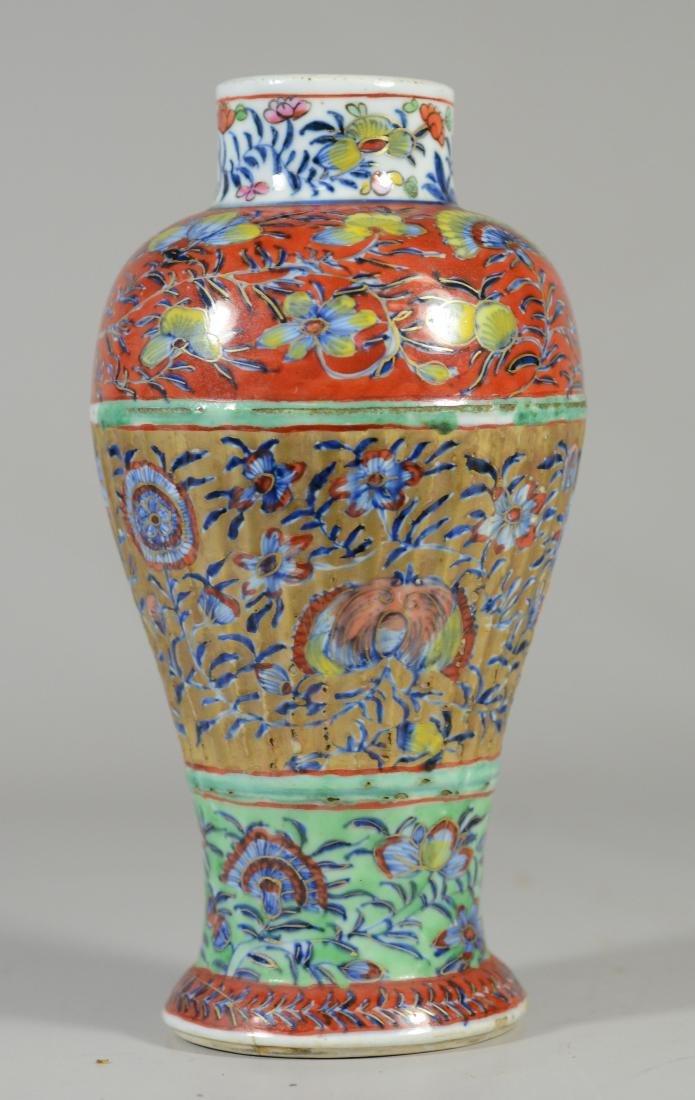 Pr of Chinese Ribbed Baluster Clobbered Vases - 3