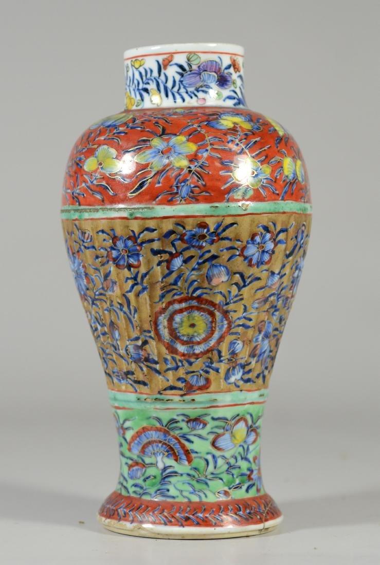 Pr of Chinese Ribbed Baluster Clobbered Vases - 5