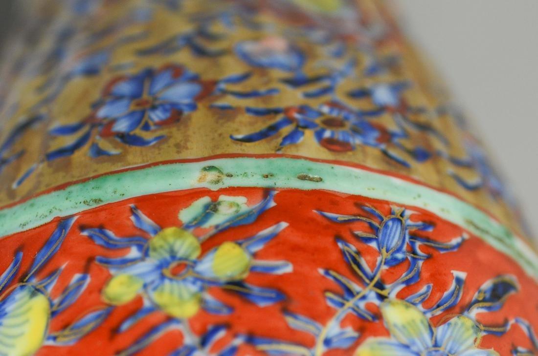 Pr of Chinese Ribbed Baluster Clobbered Vases - 8