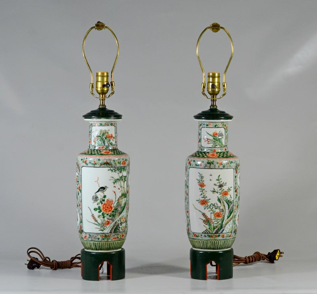(2) Chinese Famille Verte Rouleau Vases