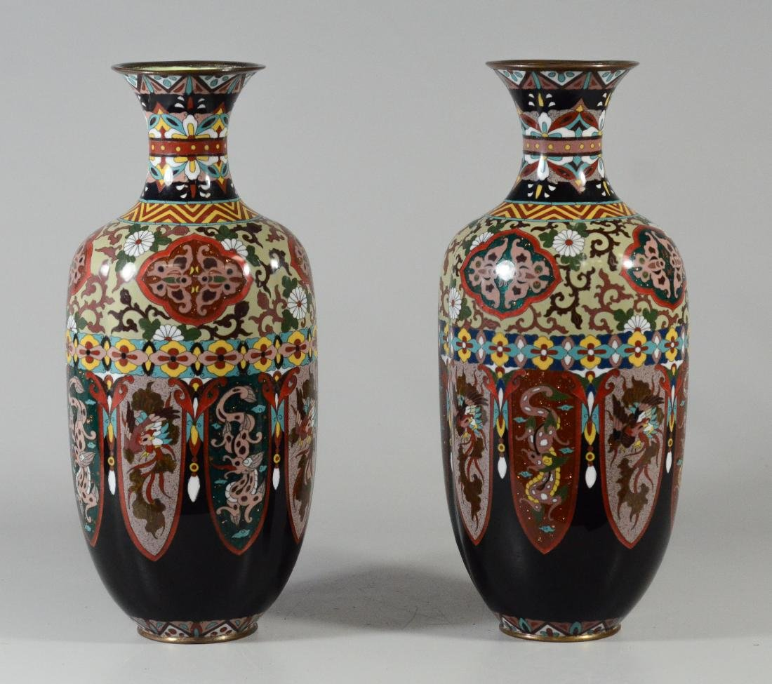Pr cloisonne paneled vases, each of 8 panels