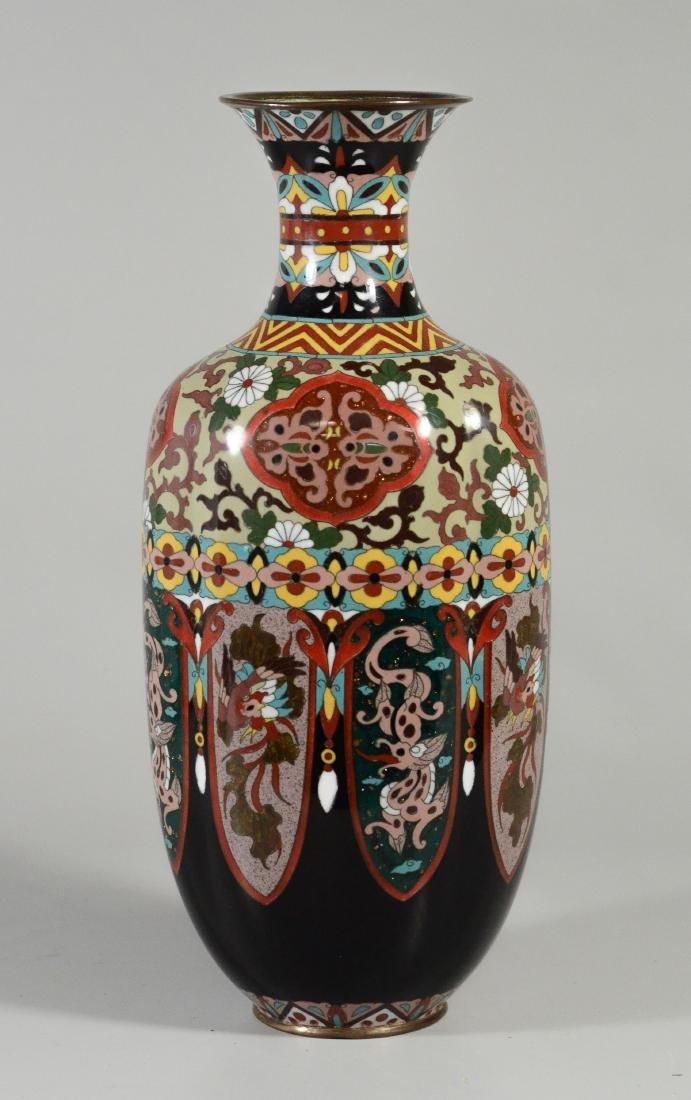 Pr cloisonne paneled vases, each of 8 panels - 2