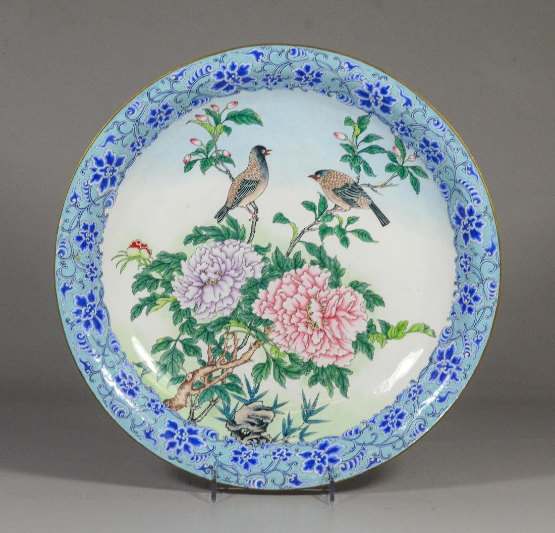 Cloisonne low footed bowl, birds on a chrysanthemum