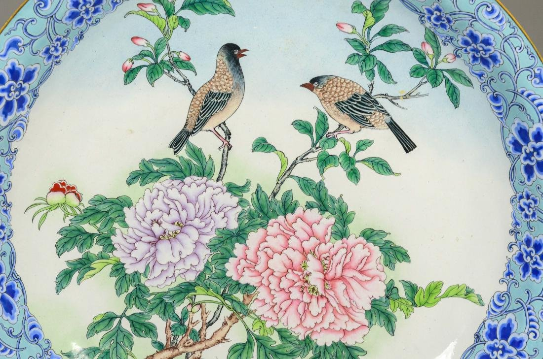 Cloisonne low footed bowl, birds on a chrysanthemum - 2