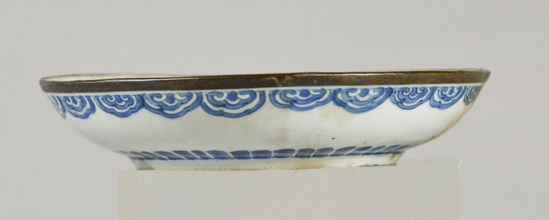 (2) Ming style Chinese porcelain low bowls with bird - 10