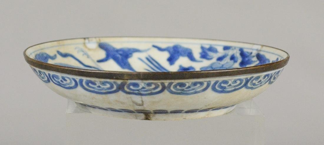 (2) Ming style Chinese porcelain low bowls with bird - 6