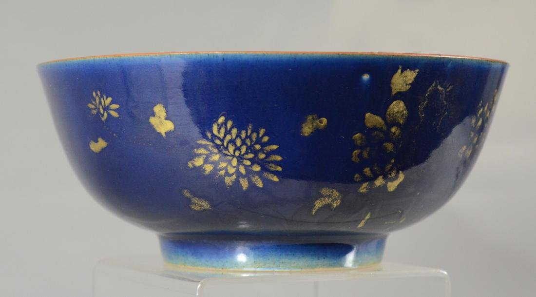 Chinese porcelain bowl, blue exterior - 5