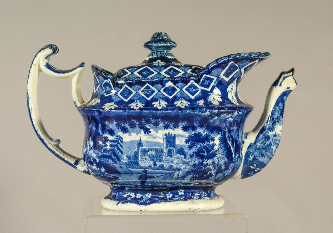 (3) pcs blue transfer Staffordshire - 10