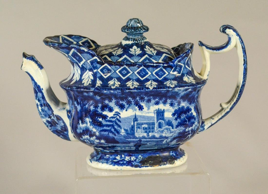 (3) pcs blue transfer Staffordshire - 11