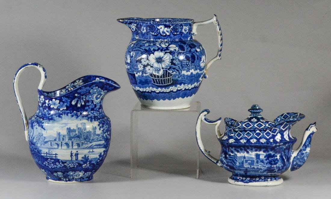 (3) pcs blue transfer Staffordshire