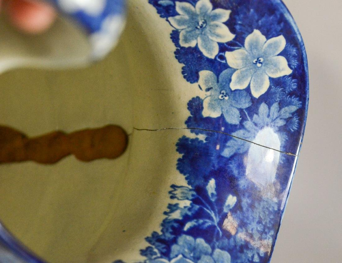 (3) pcs blue transfer Staffordshire - 7