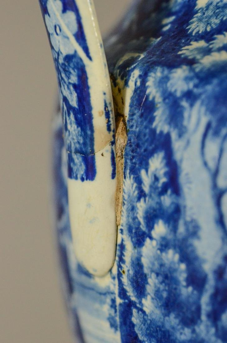 (3) pcs blue transfer Staffordshire - 9