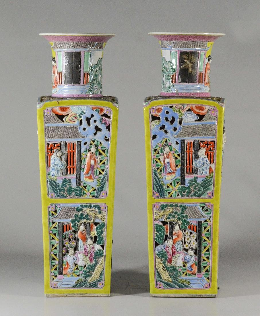 Pr Famille Jaune pierced Chinese porcelain vases - 3