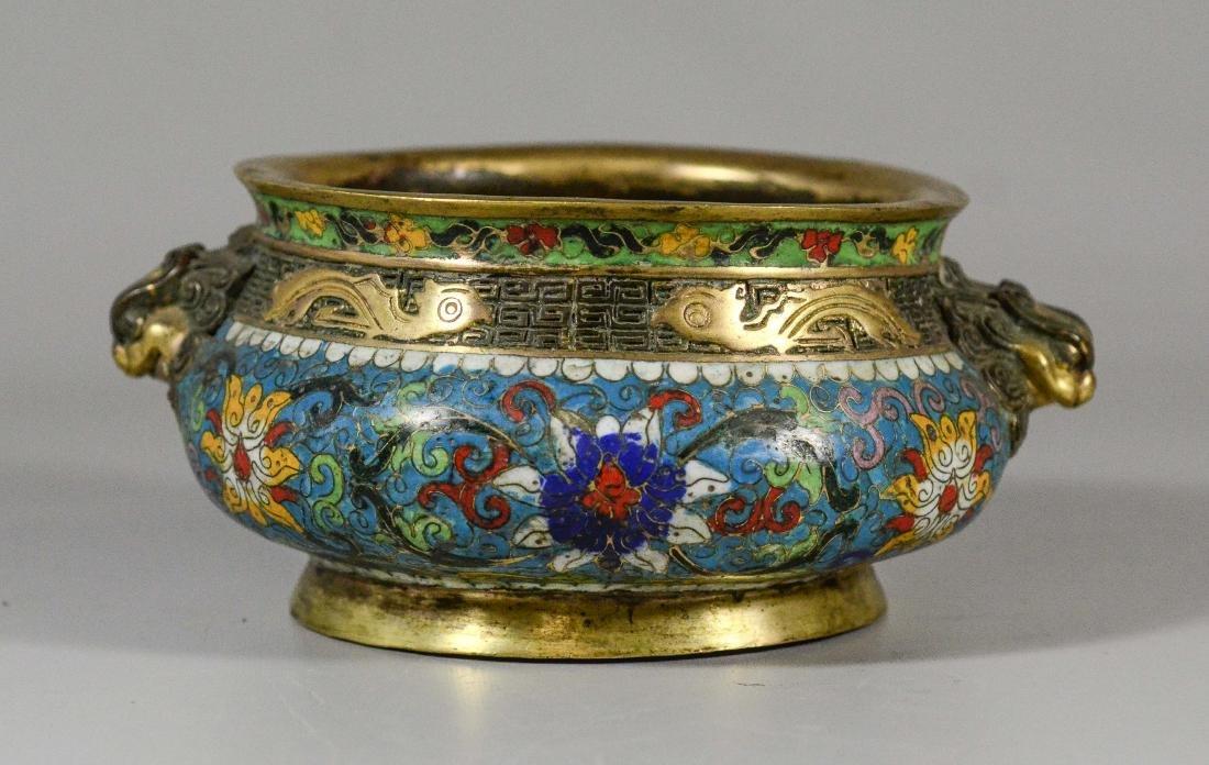 Cloisonne bronze low bowl, dragon head handles