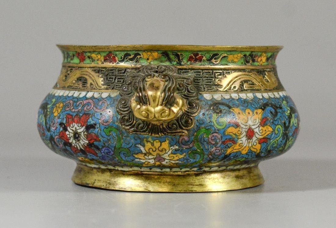 Cloisonne bronze low bowl, dragon head handles - 2