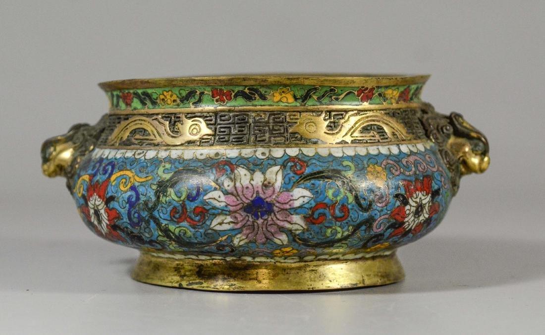 Cloisonne bronze low bowl, dragon head handles - 3