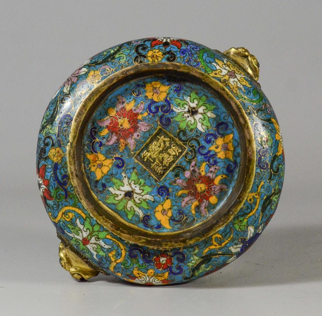 Cloisonne bronze low bowl, dragon head handles - 4