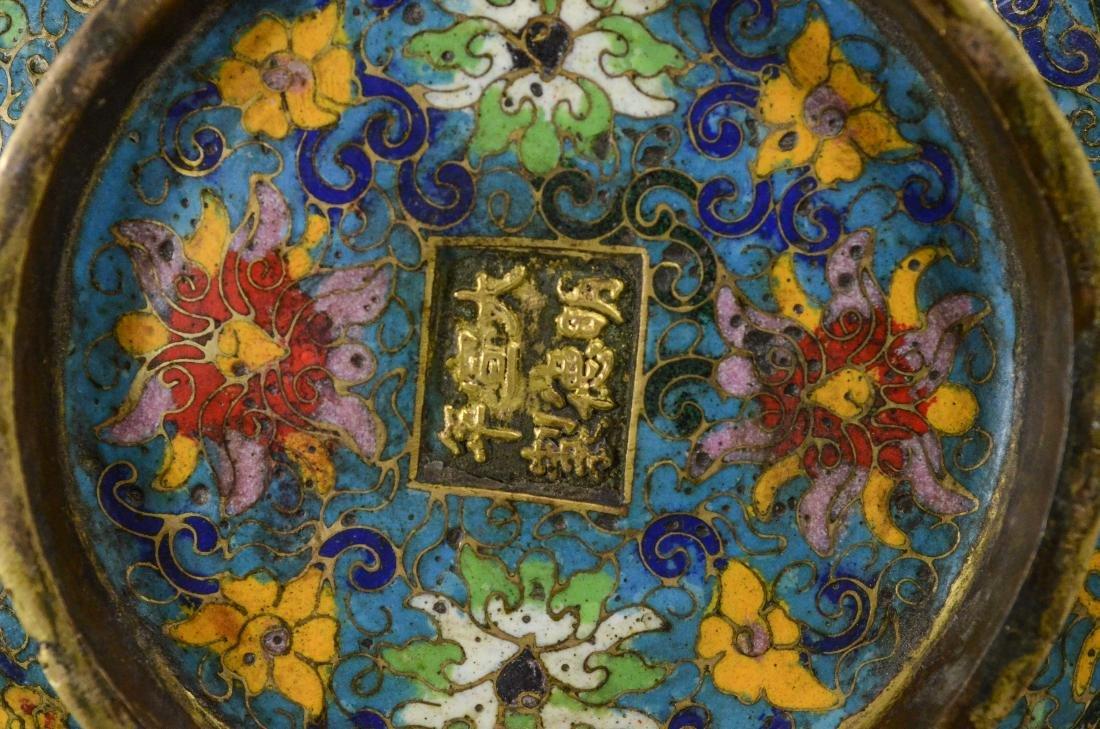Cloisonne bronze low bowl, dragon head handles - 5