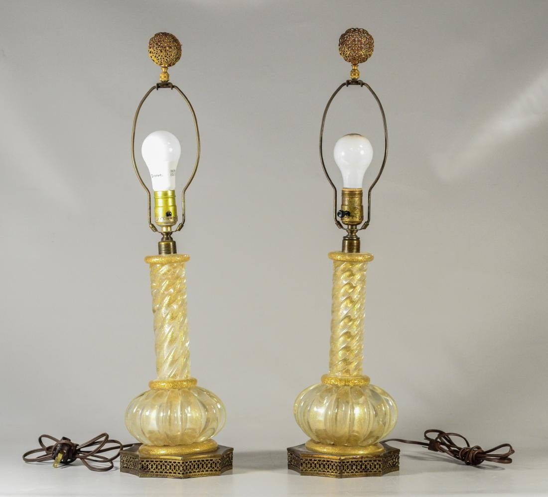 Pair Murano glass gold fleck table lamps