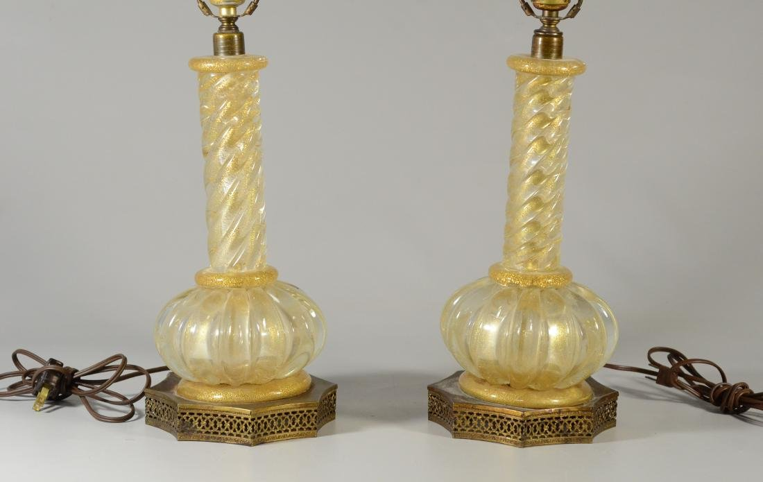 Pair Murano glass gold fleck table lamps - 2