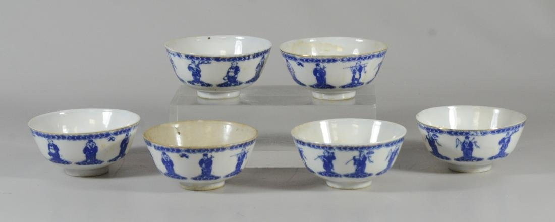 6 Chinese porcelain blue & white rice bowls