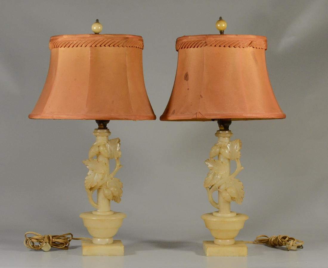 Pair alabaster table lamps w/ leaves and acorns