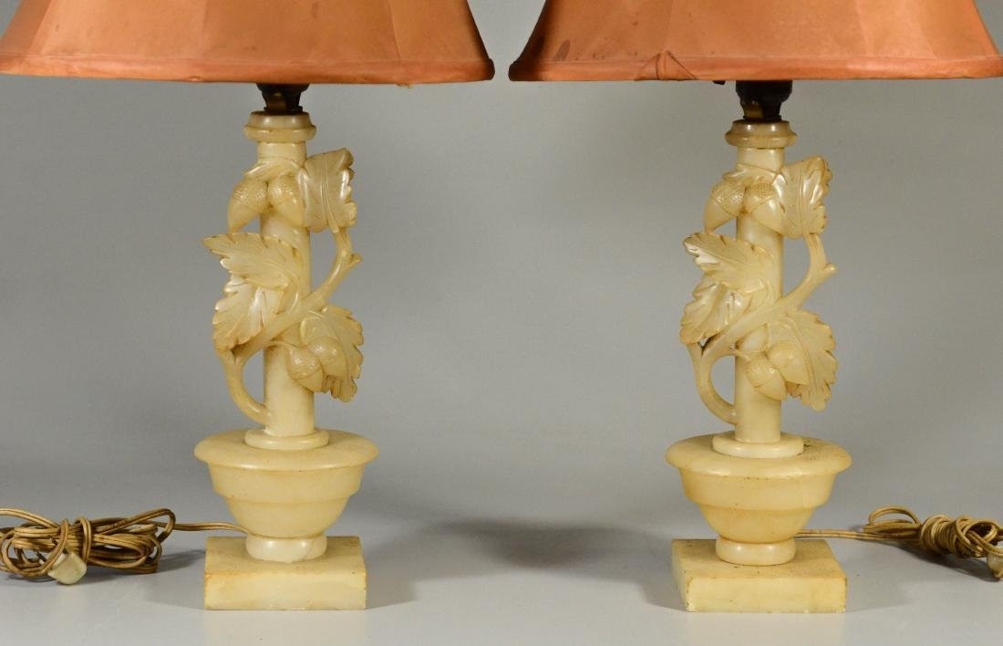 Pair alabaster table lamps w/ leaves and acorns - 2
