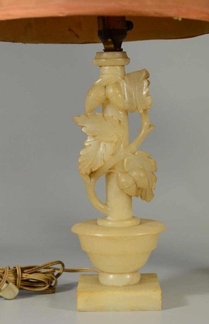 Pair alabaster table lamps w/ leaves and acorns - 3