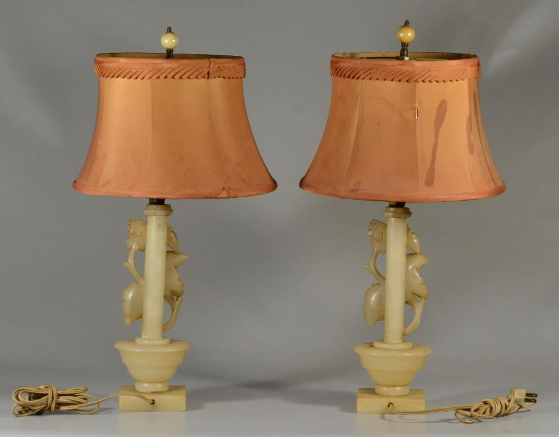 Pair alabaster table lamps w/ leaves and acorns - 4