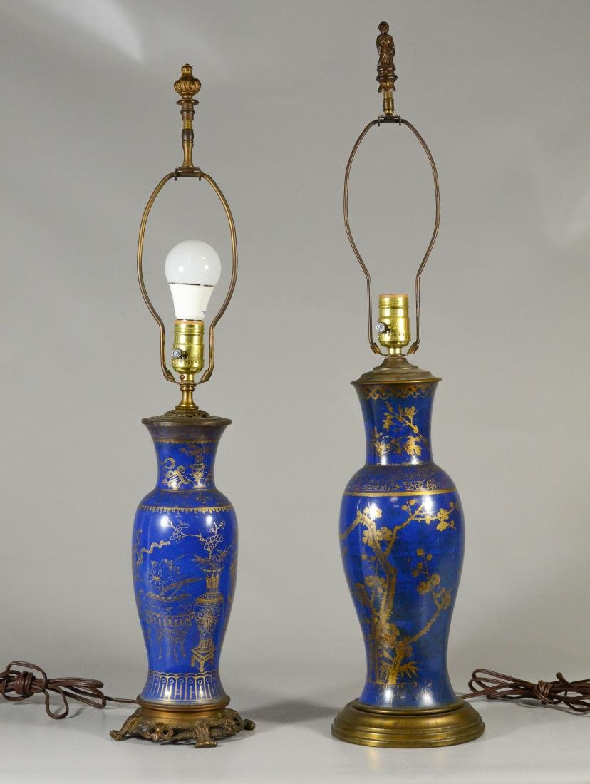 (2) Asian style paint decorated table lamps