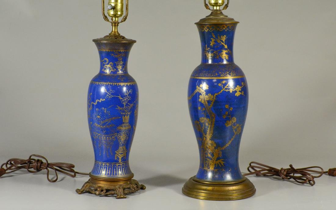 (2) Asian style paint decorated table lamps - 2