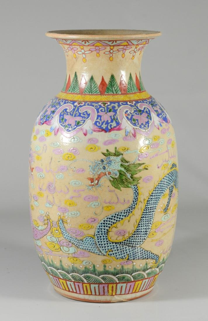 (2) Chinese Famille Rose dragon vases - 2