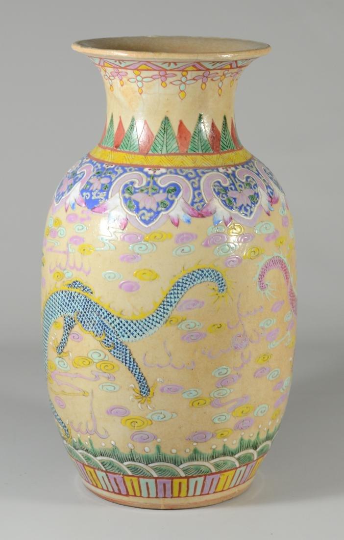 (2) Chinese Famille Rose dragon vases - 3