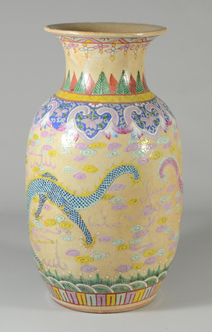 (2) Chinese Famille Rose dragon vases - 3