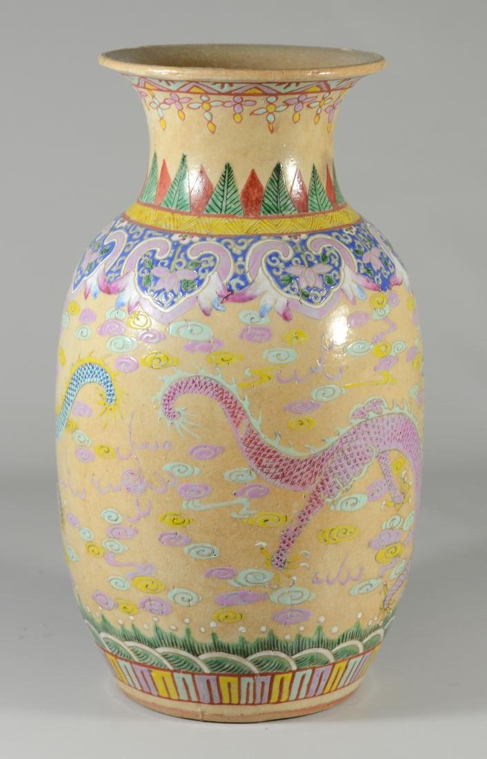 (2) Chinese Famille Rose dragon vases - 4
