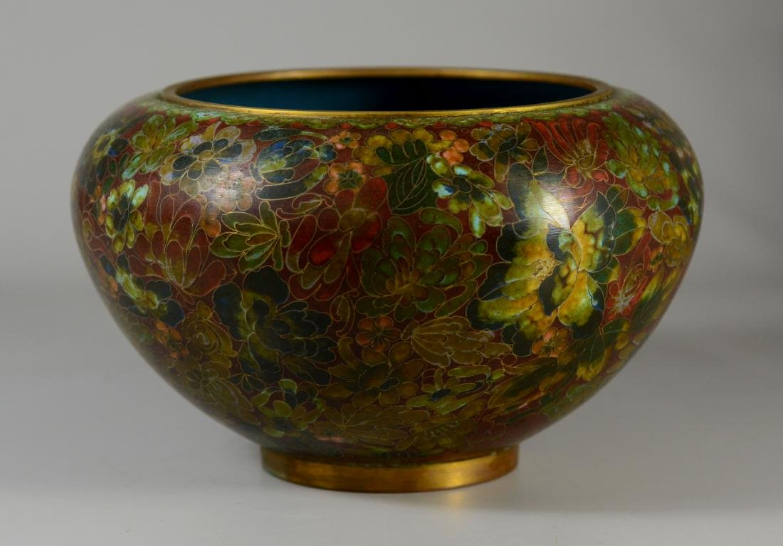 Chinese cloisonne center bowl with floral design