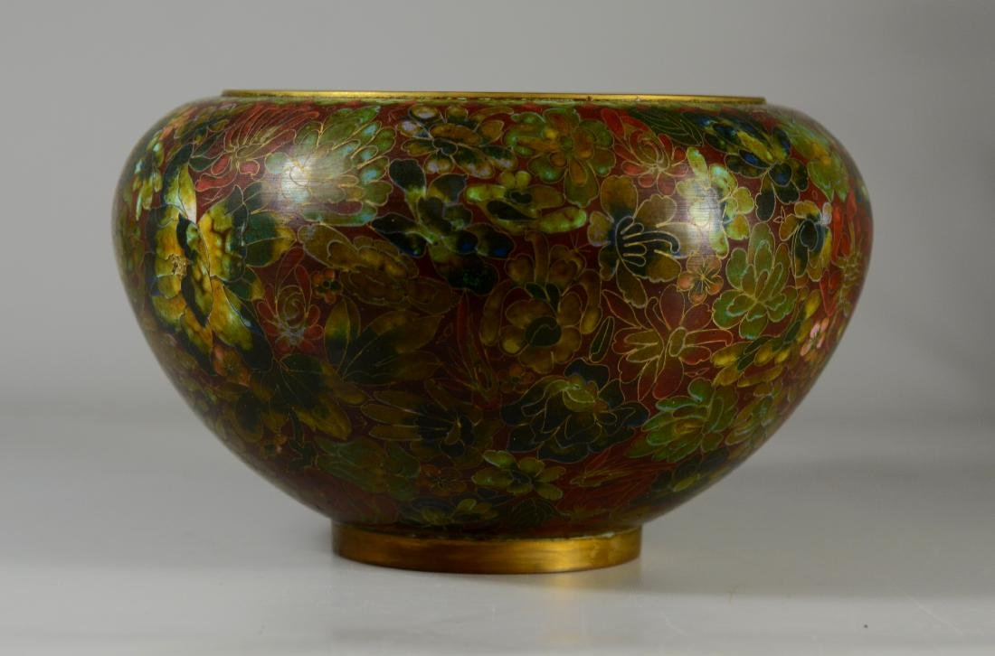Chinese cloisonne center bowl with floral design - 2