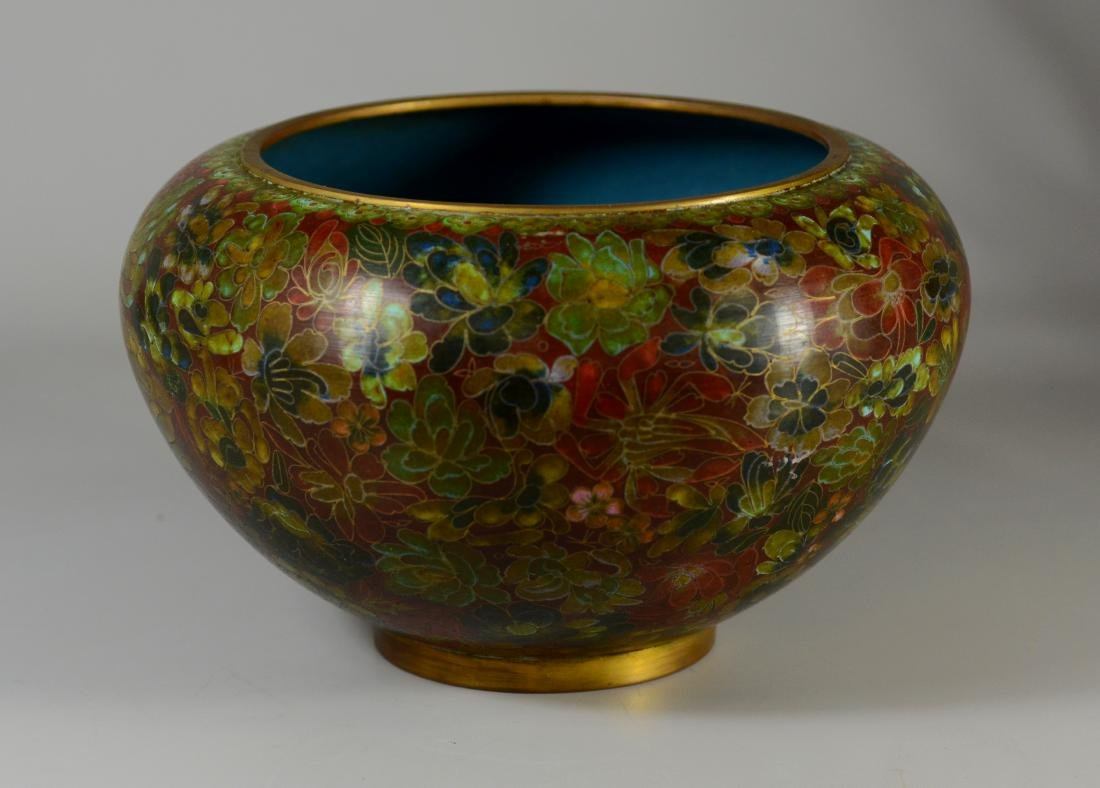 Chinese cloisonne center bowl with floral design - 3