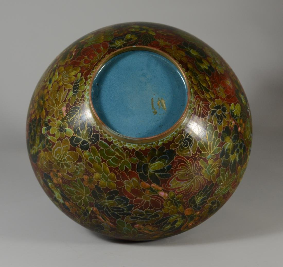 Chinese cloisonne center bowl with floral design - 4